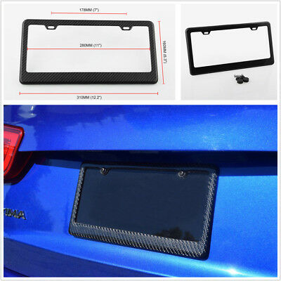US Vehicle Standard Size Carbon Fiber License Plate Frame Cover Durable & Strong