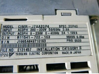 1PCS USED Yaskawa Inverter CIMR-J7AA20P4 220V-0.4KW tested