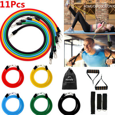 Resistance Bands Loop Set 11pcs Exercise Yoga Fitness Stretch Heavy Duty Tubes
