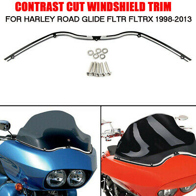 Contrast Cut Windshield Trim Black  For Harley Road Glide FLTR FLTRX 1998-2013