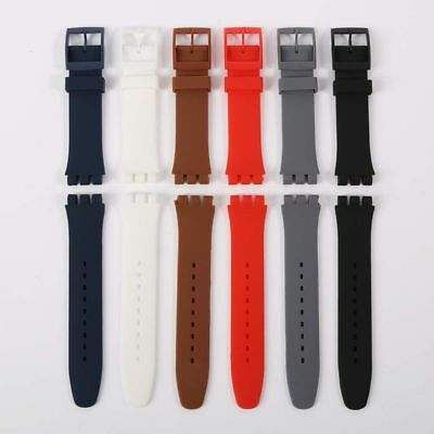 17 19 20 mm Black Silicone S Watch Band Strap Men's Diver Watch Band Replacement
