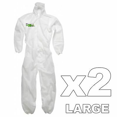 2 x Maximum Professional Hooded Painters Large Overalls Anti-Static Protection