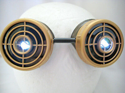 Pro Steampunk ® Aged Copper & Brass Cosplay Robot Drilled Lenses 10X LED Goggles