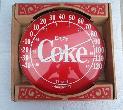 VTG Coca Cola Enjoy Coke Try Temp Jumbo Dial Ohio Thermometer Celsius Fahrenheit