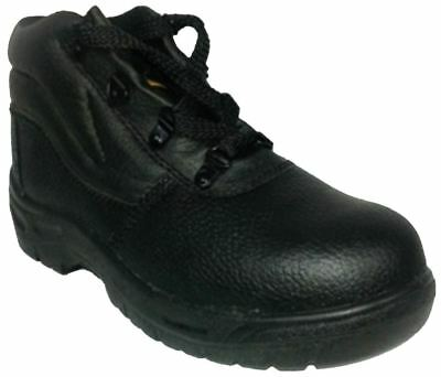 Mens Safety Work Boots Leather Steel Toe Shoe Boys Walking Hiking Midsole Cap