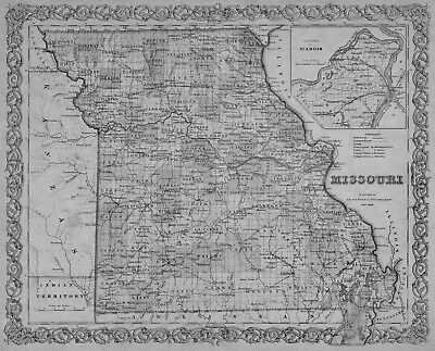 1855 MISSOURI MO MAP Warrensburg Warrenton Washington Webb City Webster Groves