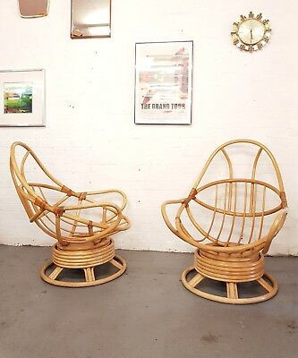 Admirable 1 X Mid Century Swivel Egg Bamboo Vintage Chair Delivery Pabps2019 Chair Design Images Pabps2019Com