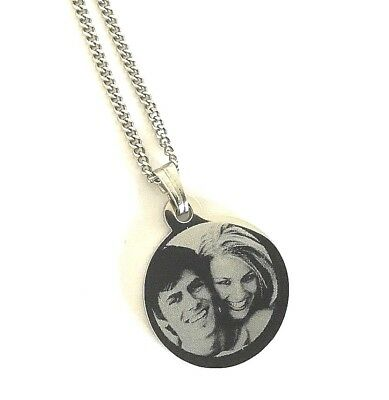 Personalised Photo/Text Engraved Circle Round Necklace With Free Luxury Gift Box