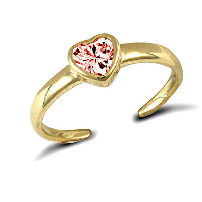 9ct Solid Yellow Gold Pink Cubic Zirconia (Cz) Heart Toe ring.
