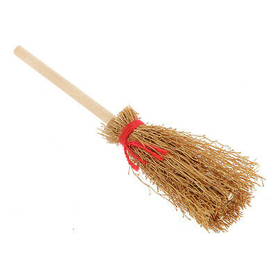1:12 Wooden Broom Wicca Witch Kitchen Garden Miniature Doll House Accessory Toy#