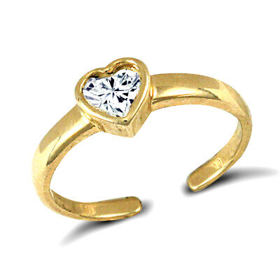 9ct Solid Yellow Gold White Cubic Zirconia (Cz) Heart Toe ring.