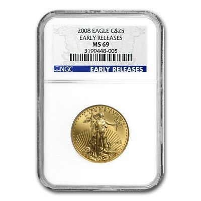 2008 1/2 oz Gold American Eagle MS-69 NGC (Early Releases) - SKU #41981
