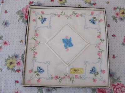 Vintage Boxed Un-Opened Prettiest Embroidered Small Tablecloth Super Cloth Set