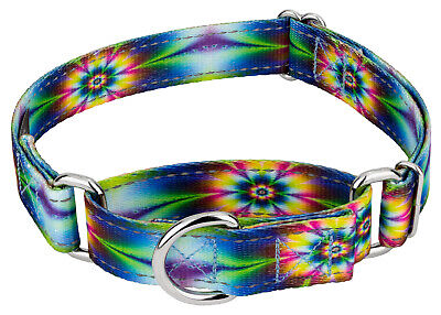 Country Brook Petz® Tie Dye Flowers Reflective Martingale Dog Collar