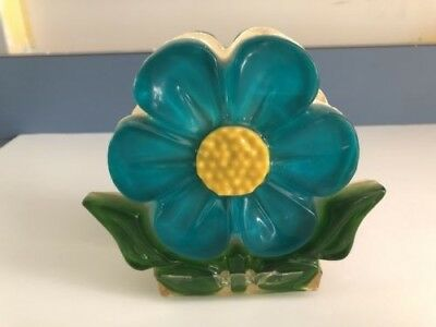 Vintage 1960s Acrylic Lucite Blue Flower Napkin Holder with Yellow Center