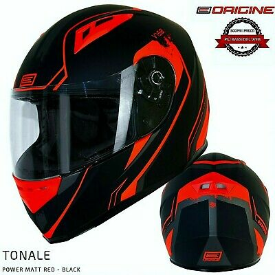 Casco Integrale Strada Origine Tonale Power Nero Red Opaco - Moto Scooter GoKart