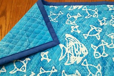 "HOMEMADE ""SEA LIFE"", 36x44in COTTON, BOYS BABY/TODDLER  QUILTED BLANKET-GIFTIDEA"