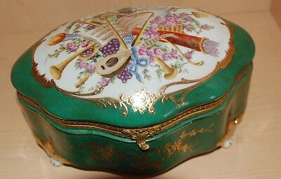 Beautiful Antique French Sevres Jewelry Box 8 Inch Stamped