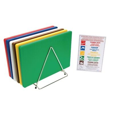 Hygiplas Thick Low Density Chopping Board Set with Rack (Pack of 6)