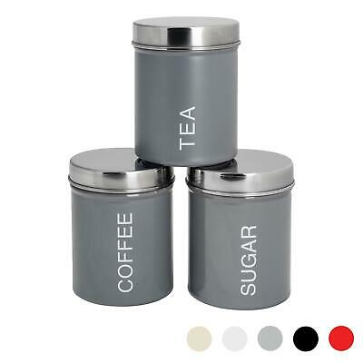 Metal Tea Coffee Sugar Canister Canisters Kitchen Secure Rubber Seal Grey