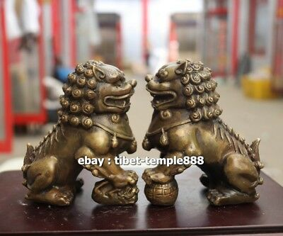 11 CM Chinese Pure Bronze Fengshui Animal Foo Dog lion Guardian Beast Sculpture