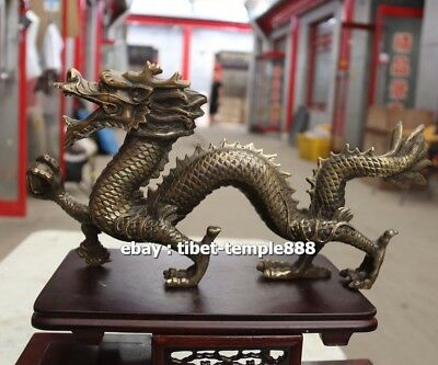 37 CM Pure Bronze China Zodiac Animal Amulet Beast Dragon Wealth Fengshui Statue