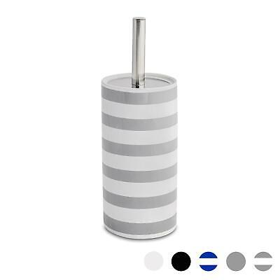 Bathroom Toilet Brush & Standing Holder Ceramic Cleaning Set - Grey Stripe