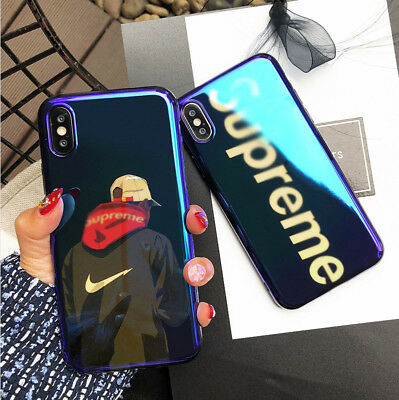 35d3016dd5b82b Blue Light Supreme Shark Case For iPhone X 6 6s 8 7 Plus Soft Silicon Cover