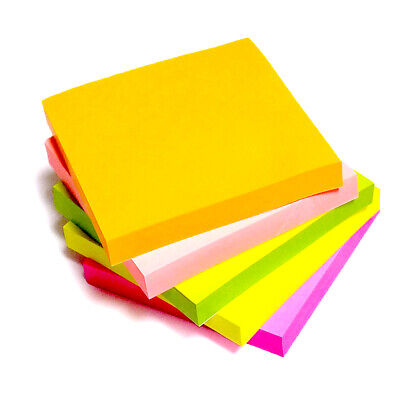 """1200 NEON Removeable Sticky Post Notes 76mm x 76mm 3""""x 3"""" (12 packs of 100)"""