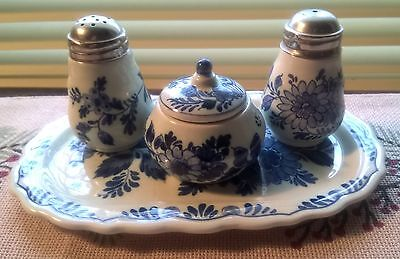 Antique Small Blue Tray w/ Salt, Pepper Shaker & Mustard Jar, Delfts Blauw Ram