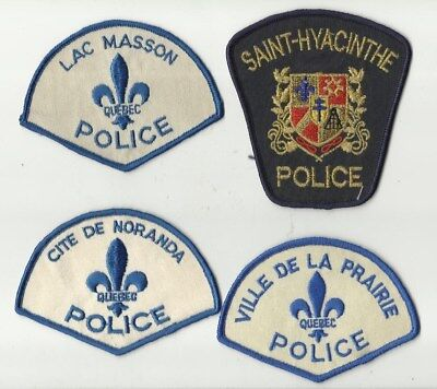 La Prairie / Noranda / Lac Masson / St-Hyacinthe (QUEBEC) Police Patches