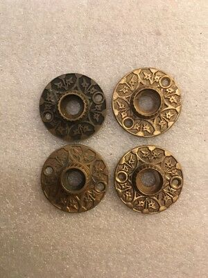 Charmant Lot #384 Brass Ornate Victorian Door Knob Rosettes Antique Hardware