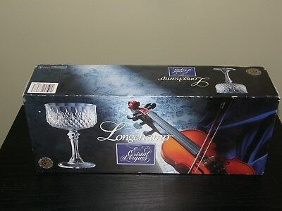 "Cristal d'Arques Longchamp Champagne Tall Sherbet 5 5/8"" Set of 4 w/box"
