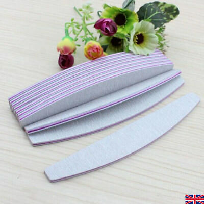Double Nail Files Sided 100/180 Grit Grey Banana Curved Emery Board Pack Of 1/10