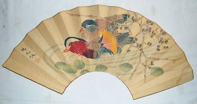 "China Qing Dynasty Famous Painter马元驭Handwriting Fan Painting""Mandarin Duck""Fine"