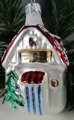 """Glass 478 Ornament House Cottage Snow Covered 4"""" x 2"""" Poland Christmas Excellent"""