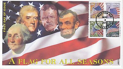 Jvc Cachets - 2013 Flag For All Seasons 4-Stamp Mt Rushmore First Day Cover Fdc