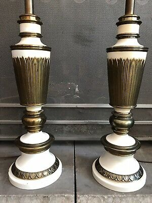 Pair Of Vintage STIFFEL Cream Enameled Brass Feather Reeds Torchiere Table Lamps
