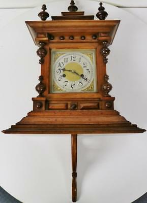 Antique German Gong Striking Carved Mahogany 8 Day Bracket Clock with Bracket