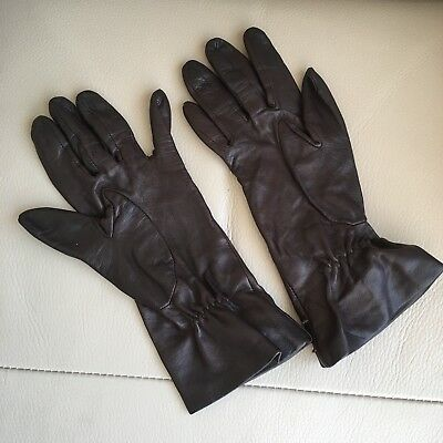Leather Driving Gloves Vintage Retro 1960s 1970s Brown Silk Lined Buttoned 71/2