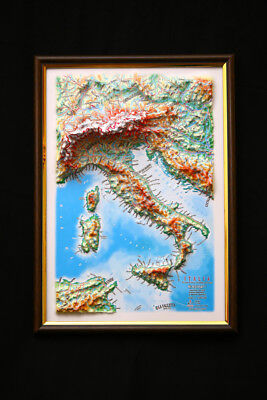 Italy Map 3D Raised Relief Framed Map Amazing Decorative Bird's-Eye View