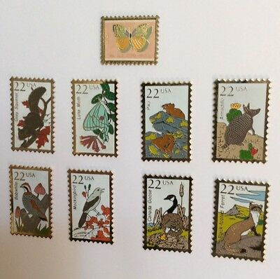 Lot 9 Pin's  ANIMAL USA 13 & 22 Cts Stamp Shape Birds & Mammals & Buttefly