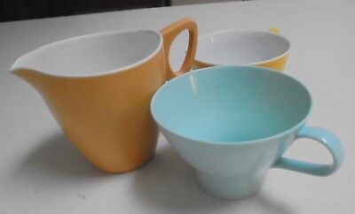 Ornamin Ware Orange Milk jug, Yellow Tea Cup, Melmac blue Tea cup-3 Assort items