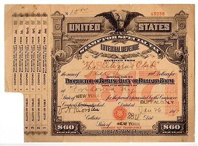 Special Tax Stamp--1917 Prop Of Bowling Alley Or Billiard Room $60 Tax Rate