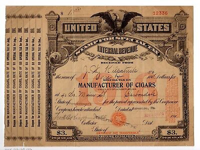 Special Tax Stamp--1916 Manufacturer Of Cigars--$3 Tax Rate