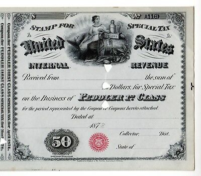 Special Tax Stamp--1873  Peddler 1St Class--