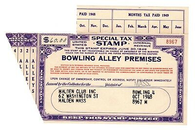 Special Tax Stamp--1949  Bowling Alley Premises---$60 Tax Rate