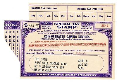 Special Tax Stamp--1943  Coin-Operated Gaming Devices---$183.34 Tax