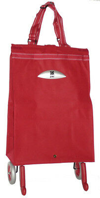 GIMI Brava Shopping Trolley (RED) - Folding Shopping Bag With Wheels