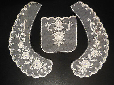 Vintage Lacy Collar & Matching Pocket, White Floral Embroidered Mesh